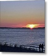 Sunset Walk Along The Beach Metal Print