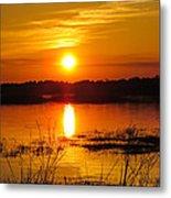 Sunset Walk In The Water Metal Print