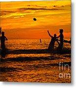 Sunset Water Football Metal Print