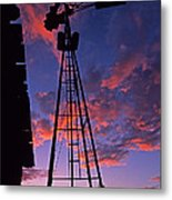 Sunset Windmill Metal Print