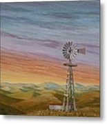 Windmill Sunset Metal Print