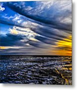 Sunset With Blue Sky Metal Print
