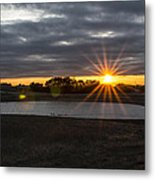 Sunset With Flair Metal Print