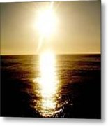 Sunset With Its Golden White Metal Print