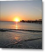 Fishingpier Sunset Metal Print