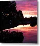 Sunset With Reflection Metal Print