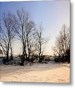Sunset With Star And Snow Metal Print