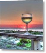 Sunset With Wine Glass Metal Print