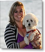 Sunset With Young American Woman And Poodle Metal Print