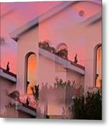 Sunsets On Houses Metal Print