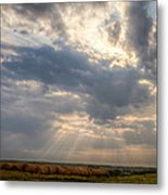 Sunshine And Hay Bales Metal Print by Scott Bean