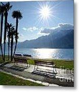 Sunshine Over A Lake Front Metal Print