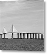 Sunshine Skyway Bridge Bw II Tampa Bay Florida Usa Metal Print