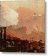 Sunsrise Over Brooklyn Bridge Metal Print