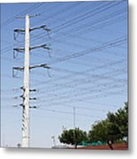 Super Power Pole And Wires Metal Print