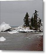 Superior Island View Of Storm Metal Print