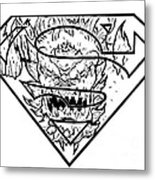 Superman And Doomsday Pen And Ink Metal Print