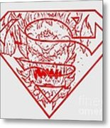 Superman And Doomsday Red Metal Print