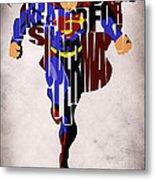 Superman - Man Of Steel Metal Print by Ayse Deniz