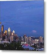 Supermoon Moonrise Over Seattle Skyline Metal Print