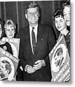 Supporters Greet Kennedy Metal Print
