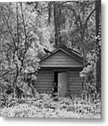 Sureal Gothic Infrared Woodlands Haunting Spooky Eerie Old Building With Black Ravens Metal Print