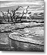 Surf At Driftwood Beach Metal Print by Debra and Dave Vanderlaan