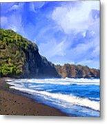 Surf At Pololu Valley Big Island Metal Print