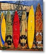 Surf Board Fence Maui Hawaii Metal Print