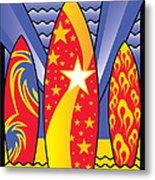 Surf Boards Retro Art Deco Metal Print