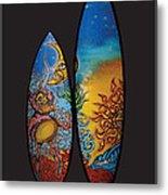 Surfboard Art Sun Moon Metal Print