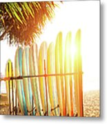 Surfboards At Ocean Beach Metal Print