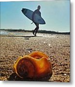 Surfer And Shell Hatteras Lighthouse 3 10/1 Metal Print