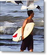 Surfer And The Birds Metal Print