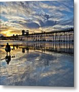 Surfer At Low Tide Metal Print by Julianne Bradford