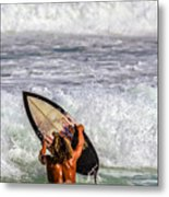 Surfer Catch The Wave Metal Print