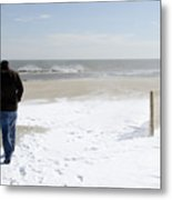 Surfer Checking Out Winter Swell In Belmar Nj Metal Print