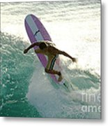 Surfer Cutting Back Metal Print