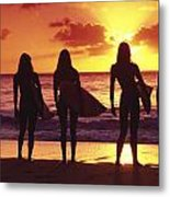 Surfer Girl Silhouettes Metal Print