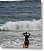 Surfer Checking The Waves Metal Print
