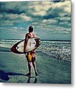 Surfer Walking The Beach Metal Print