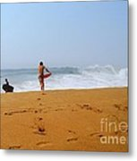 Surfers At Newport Beach Metal Print