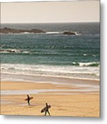 Surfers On Beach 01 Metal Print by Pixel Chimp