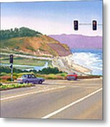 Surfers On Pch At Torrey Pines Metal Print