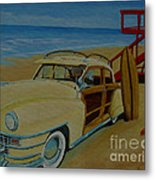 Surfers Woody Metal Print
