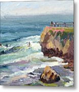 Surfing At Steamers Lane Santa Cruz Metal Print