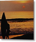 Surfing At Sunset Metal Print by Anonymous