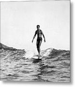 Surfing At Waikiki Beach Metal Print