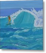 Surfing Big Waves On The North Shore Of Oahu Metal Print