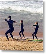 Surfing Lesson Metal Print